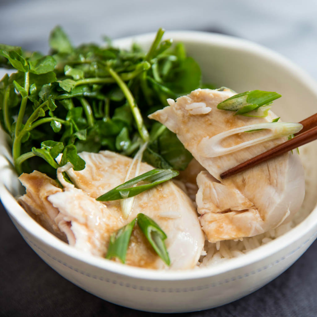 Poached Chicken with Watercress and Miso Dressing