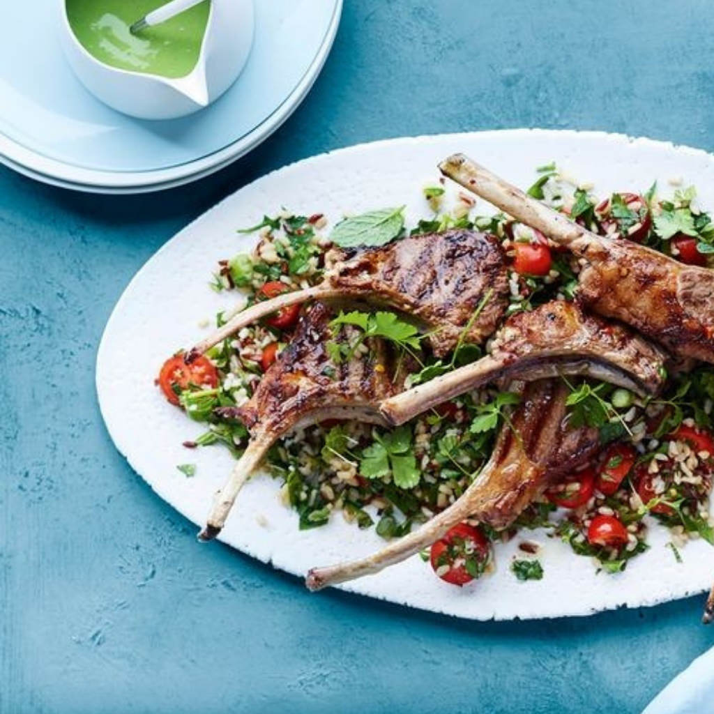 Lamb Cutlets with Rice Tabbouleh and Tahini Sauce