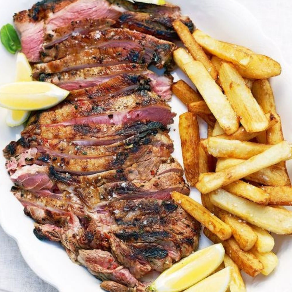 Barbequed Butterflied Lamb with Olive Oil Chips