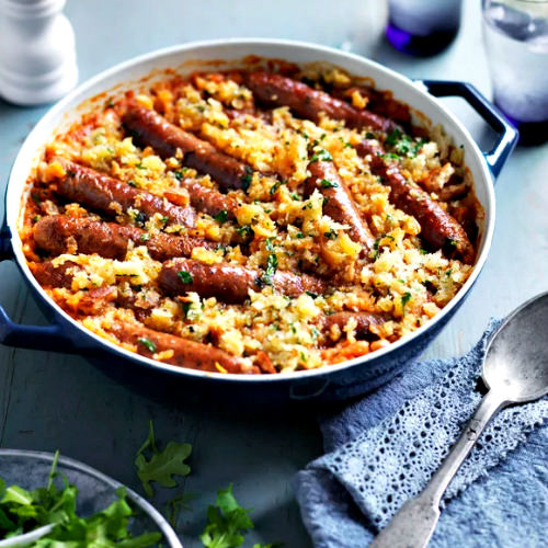 Sausage and Bean Casserole with Herbed Breadcrumbs